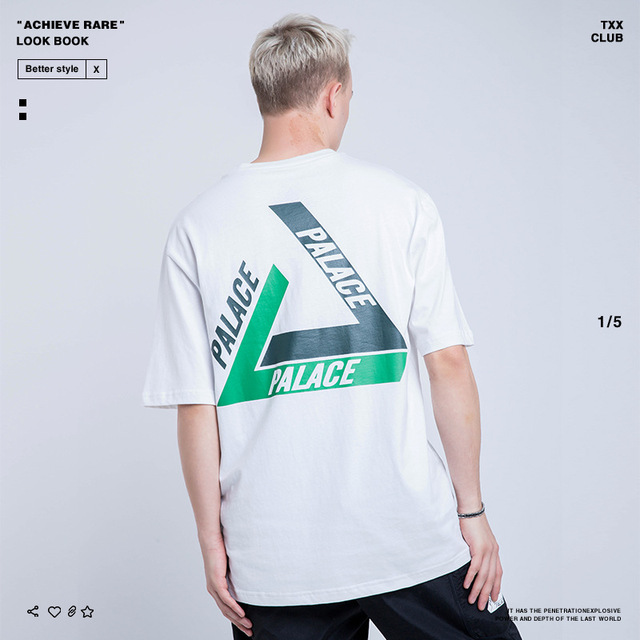 Palace Life 2019 Europe And America Popular Brand Spring And Summer New Style Men'S Wear Retro Loose-Fit Triangular Printed MEN'