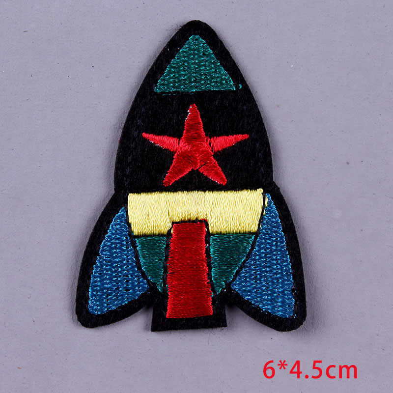 1Pieces Aircraft Stickers Space Patch Embroidery Badge Iron On Patches For Kids T-Shirt Appliqued Stickers Stripes Decoration