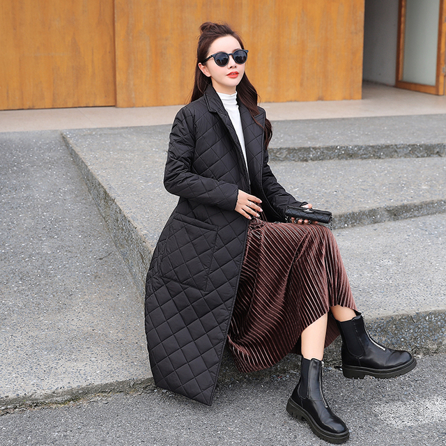 2021 Casual sashes women parkas Long straight winter coat with rhombus pattern Deep pockets tailored collar stylish outerwear 6