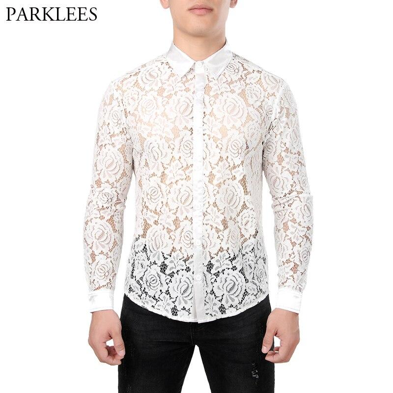 Homme See Through Mesh T-shirt à manches longues Crop Tops Clubwear Chemisier Club