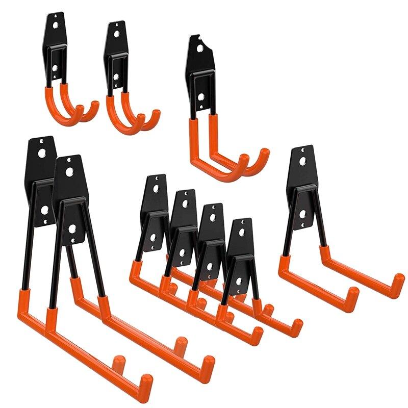 10 Pack Garage Storage Utility Double Hooks, For Organizing Power Tools,Ladders,Bulk Items