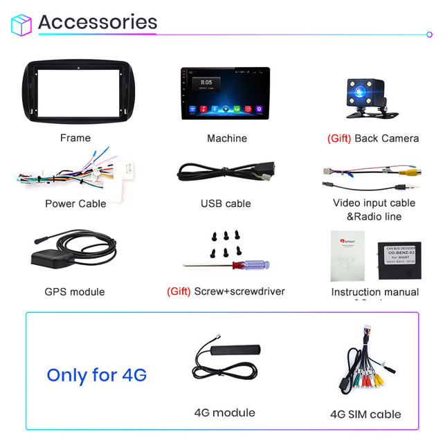 Junsun 2G+32G Android 10.0 For Mercedes Benz  Smart  2016 Car Radio Multimedia Video Player Navigation GPS 2 din dvd No CD Slot|Car Multimedia Player|   -