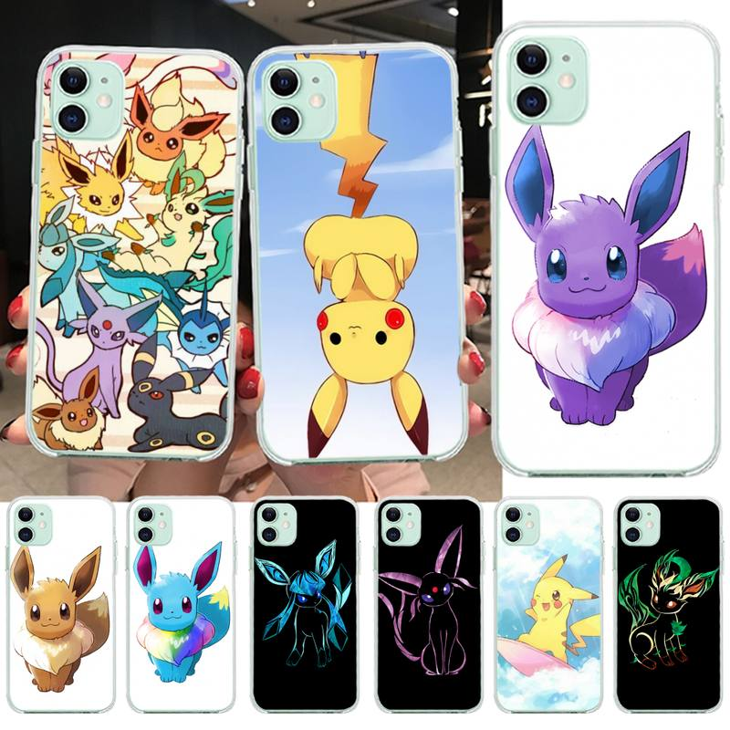 HPCHCJHM Cute eevee Soft Phone Case for iPhone 11 pro XS MAX 8 7 6 6S Plus X 5S SE XR cover image