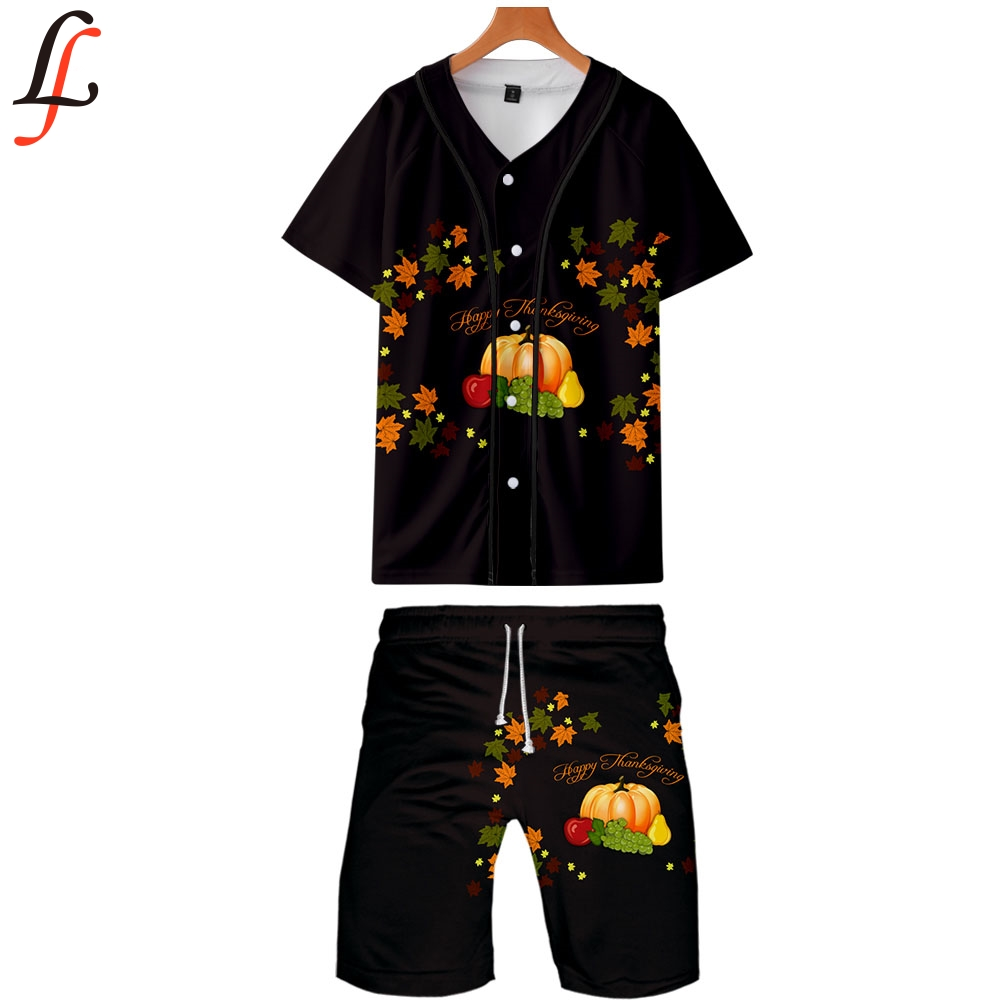 Thanksgiving Day Summer Men Causal Beach Suits Short Sleeve Shorts Sweatsuit+Pants Quick-dry Tracksuit Sports Suits Sportswear