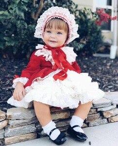 Image 3 - 4PCS ילדה סתיו חורף אביב אדום קטיפה בציר ספרדית נסיכה לוליטה Pompom כדור חג המולד יום הולדת חתונת מסיבת שמלה