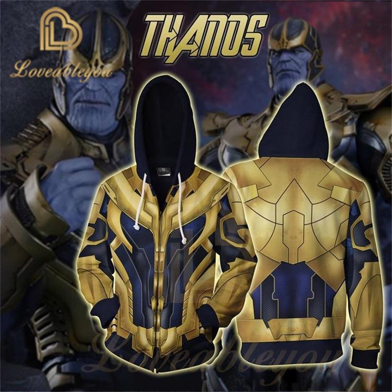 Avengers Endgame Super Villain Thanos Battle Suit 3D Hoodies Cosplay Costume Sweatshirts For Men Hip Hop Streetwear Hoodie