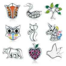 BISAER – collier en argent Sterling 925 authentique, arbre à chat, Licorne, éléphant, Petites perles, médaillon flottant, boîte à mémoire, GXF101