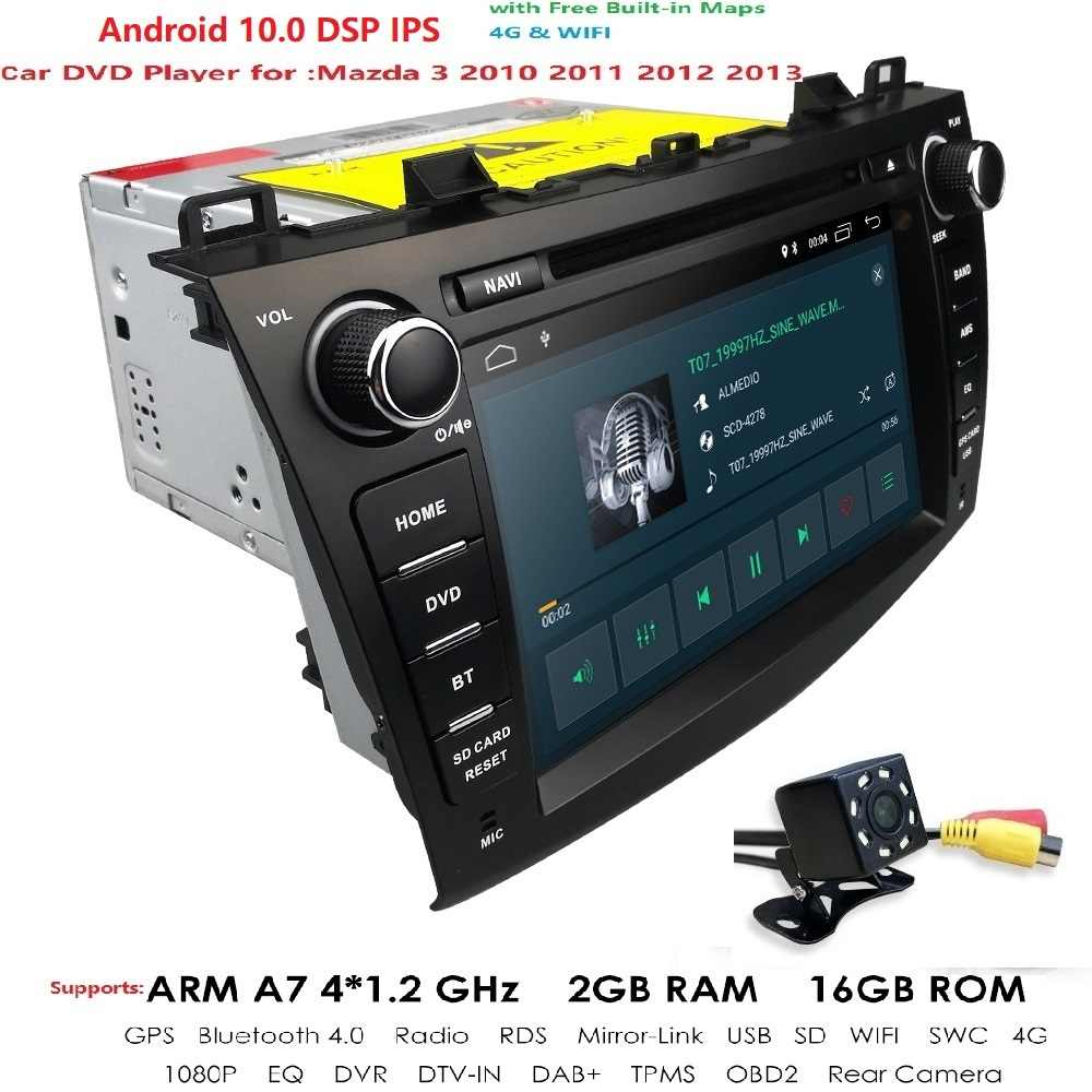 "IPS 7/8 ""2 din voiture dvd radio stéréo Android 10 GPS pour mazda 3 mazda3 2004-2013 Wifi Bluetooth magnétophone multimédia navi DAB +"