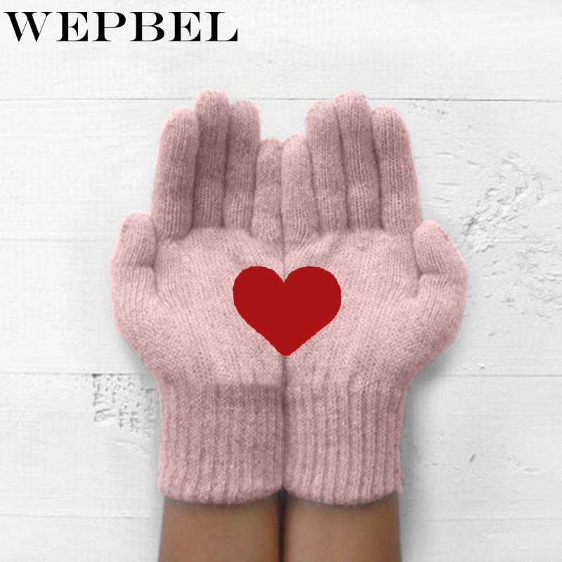 WEPBEL Winter Warm Cold Cashmere Gloves Thick Cartoon Love Print Wool Knitted Full Finger Women Fashion Christmas Gloves