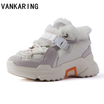 new 2020 shoes winter warm platform woman snow boots plush female casual sneakers suede leather female snow boots warm flats fur