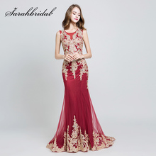 New Arrival Charming Lace Appliques Mermaid Evening Dresses 2019 with Tulle Shawl Sweep Train Elegant Party Gowns in Stock OL526