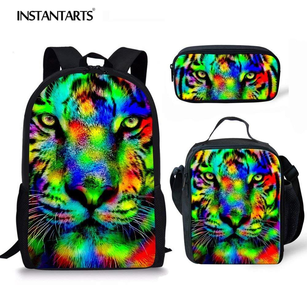 INSTANTARTS Rainbow Animal School Bag Fahion Student Bookbags Colorful Tiger/Horse/Cat Backpack Travel Bag For Teenage Boy Girls