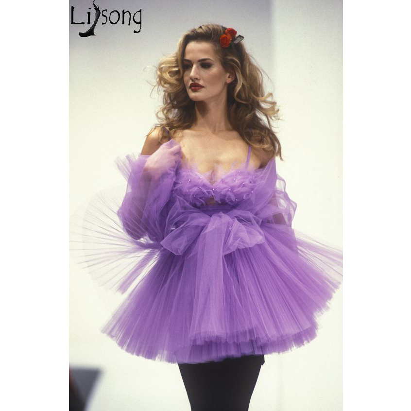 Sexy 2 Pieces Cocktail Dresses Short Tulle Skirt Purple Prom Dress Mini Lush Unique Special Occasion Gowns Custom Made Cheap