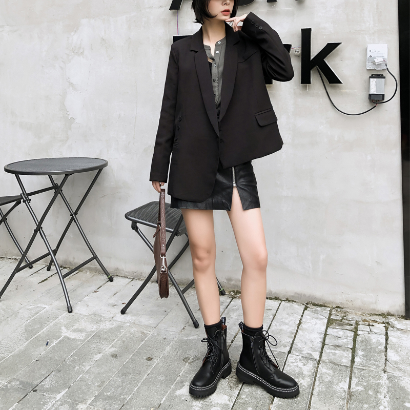 Spring And Autumn Female Suit Casual Solid Color Irregular Suit
