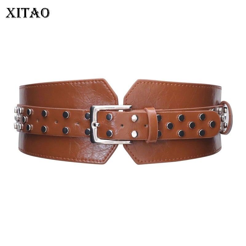 XITAO New Womens Wide Belts Personality Rivet Wide Belt Trend Corset Belt For Women Fashion Leather Accessories Women XJ3385