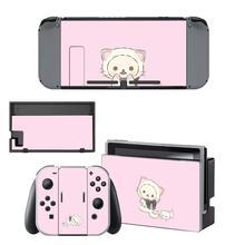 Pegatinas Kawaii de oso rosa para Nintendo Switch, pegatinas de piel para consola Nintendo Switch y controlador Joy Con