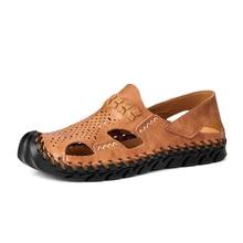 Men's Sandals Men Casual Shoes Summer Rome Sandals Leather Man Slip On Breathable Slippers Beach Sandalias Big Size 38-48
