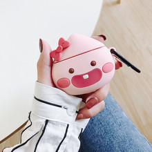 For AirPods Case Cute Cartoon Bowknot Juicy Peach Silicone Earphone Airpods 2 Accessories Protect Cover with Key Ring