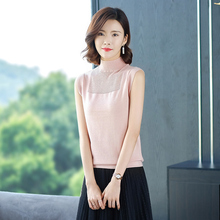 2019 new sexy Semi-high collar women vest summer  fashion loose Leisure black Simplicity Same code