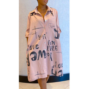 Women Summer Long Sleeve Shirt Dress 2020 Streetwear Office letters Print Casual Dress Plus Size Loose Midi Party Dress chain print sexy shirt dress women 2020 summer long sleeve mini dress streetwear plus size loose blouse dress vestido