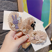 Vintage Cartoon Rabbit Bunny Lace Pearl Brooches Pins Badges For Woman Fashion Jewelry Korean Handmade брошь значки-JQE