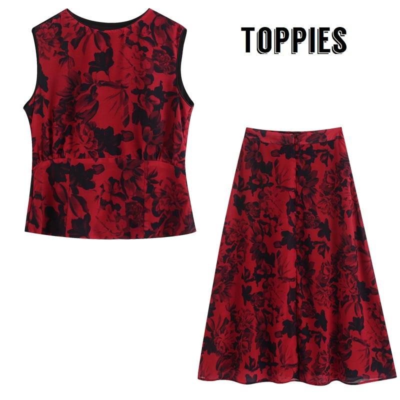 2020 Summer Two Piece Set Women Vacation Set Red Flowers Printing Tops High Waist Midi Skirts Beach Sleeveless Tank