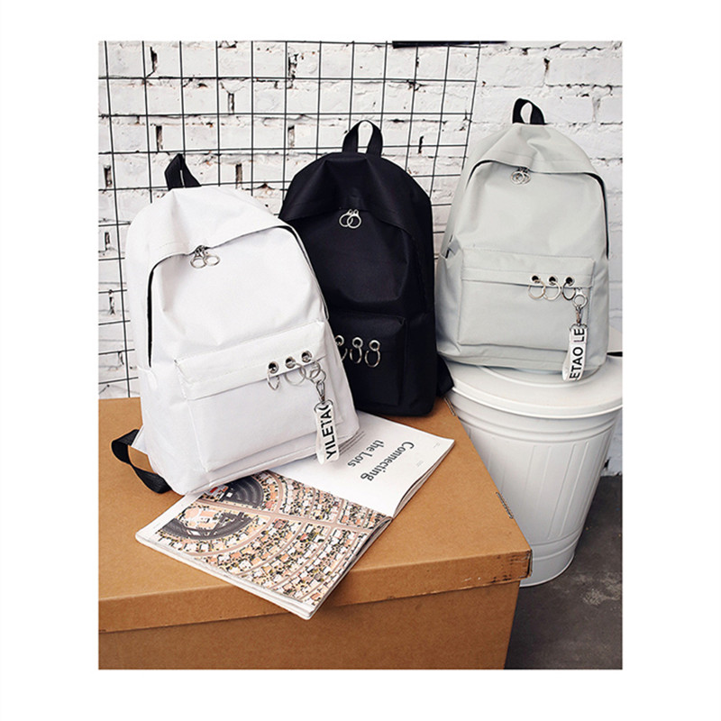 PACGOTH Fashion Solid Backpacks Punk Style Shoulder Bag Travel Canvas School Bag Teenage Girl Children Backpacks Laptop Bags