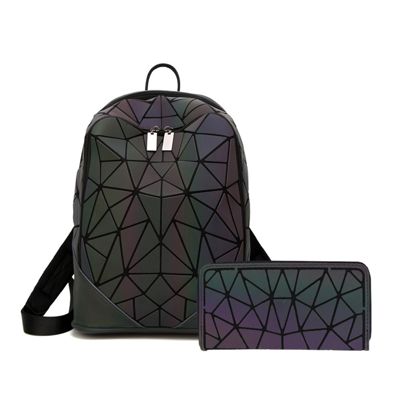 New Women Laser Luminous Backpack School Hologram Geometric Fold Student School Bags For Teenage Girls Holographic Sac A Dos