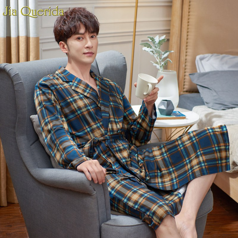 Male Bathrobe Japanese Men Nightgown 100% Cotton Long Sleeve Bathrobe Plus Size Elegant Plaid Homewear Mens Dressing Gown Cotton