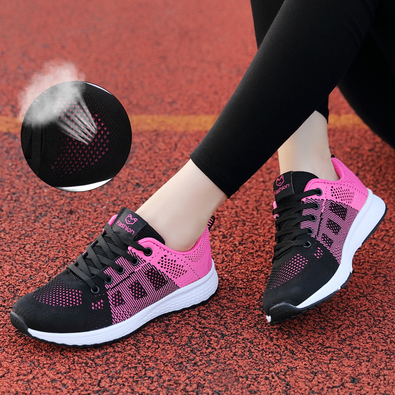 Spring Women Sport Shoes Light Lace-up Rose Running Shoes Breathable Sneakers Round Cross Straps Trainers Flat Outdoor Gym Shoes