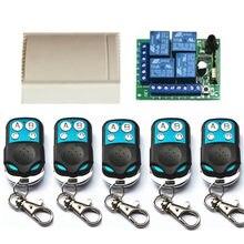 433 Mhz evrensel kablosuz uzaktan kumanda anahtarı DC12V 4CH röle alıcı modülü ve 4 kanallı RF 433 Mhz verici