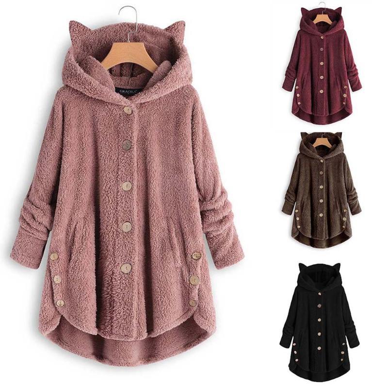 Women Plus Size Winter Overcoat Warm Soft Button Pocket Jacket Female Cute Ear Plush Hooded Coat Long Sleeve Solid Color Outwear