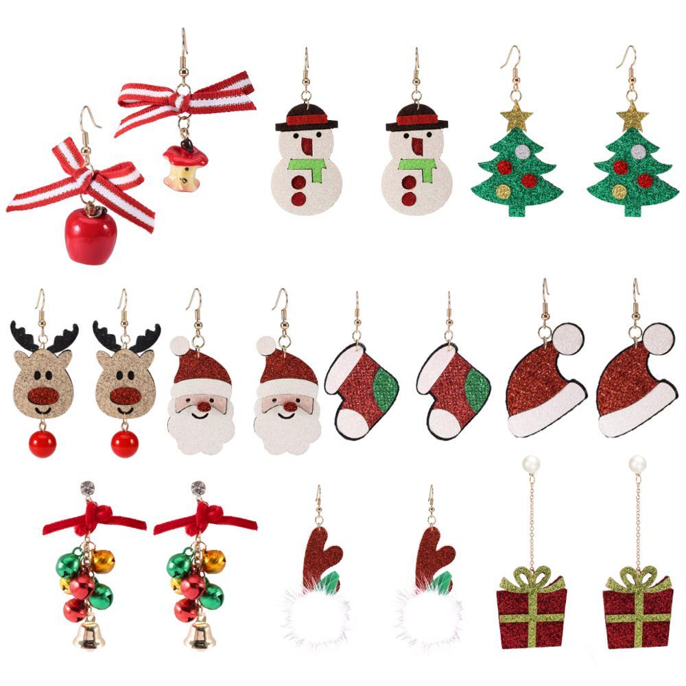 Санта-Клаус, рождественские милые серьги, искусственный снеговик, елка, украшения для ушей, милые рождественские подарки для женщин и девоч...