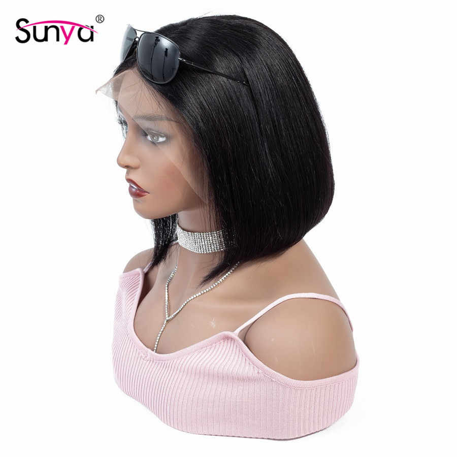 Sunya 13 × 4 ボブかつら事前摘み取らストレート人毛かつらペルーショートボブレースフロントかつらのための黒人女性自然な色の髪