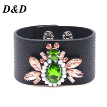 D&D New Embroidery Crystal Golden bee  Leather Bracelet & Bangles for women Fashion wholesale