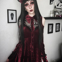 JIEZUOFANG Gothic Lolita Red Velet Lace Shoulder Strapless Mini Dress Streetwear Sexy Night Club Party Women Dresses Robe Punk