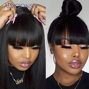 Image 1 - Bang Wig Human Hair Straight Pre Plucked 360 Lace Frontal Wig With Baby Hair Wig With Bangs 150 Density Preplucked Lace Wig Remy