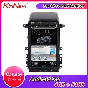 Автомобильный Dvd-плеер KiriNavi, вертикальный экран Tesla Style 13,6 дюйма, 1 Din, Android 9,0, для Chevrolet Captiva, автомагнитола с GPS-навигацией, 4G BT