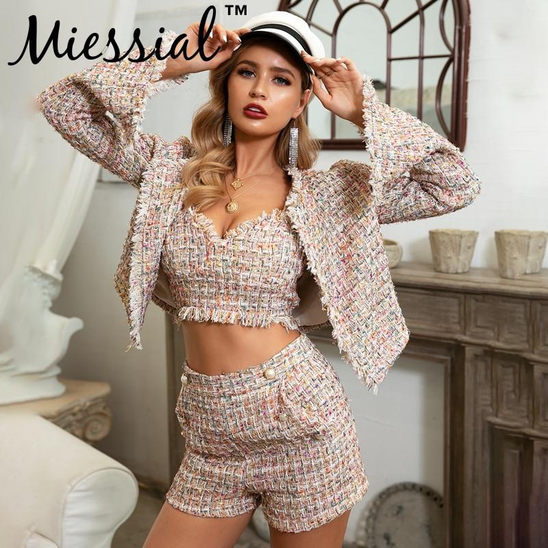 Miessial Tweed Sexy Long Sleeve Plaid Blazer Jacket Women Autumn Ladies Office Elegant Blazer Female Fashion Suit Winter Blazer
