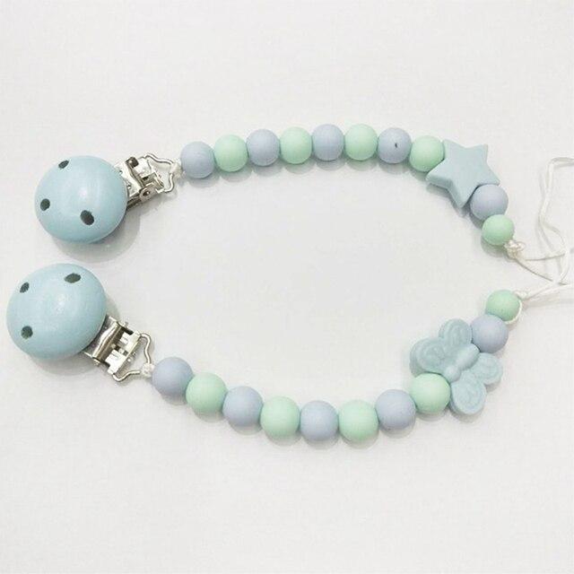 Clips de sucette colorés en Silicone | Perles en bois pour bébé étoiles papillon, breloques porte-chaîne Anti-perte pour enfants, jouet à mâcher