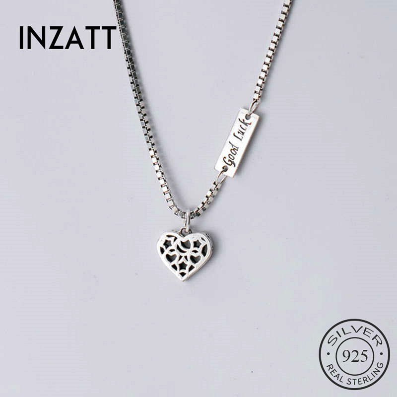 INZATT Real 925 Sterling Silver Hollow Heart Pendant Choker Necklace For Fashion Women Fine Jewelry Hiphop Accessories