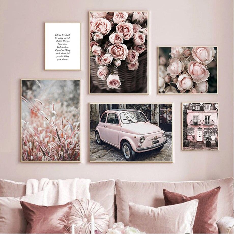 Настенная картина с изображением девушки, спальни, розовых роз, автомобиля, виллы, настенные картины на холсте, скандинавские постеры и прин...