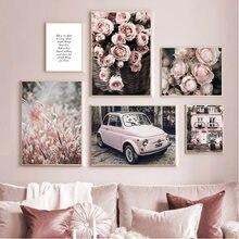 Menina quarto rosa rosa flor do carro villa arte da parede pintura da lona nordic cartazes e impressões fotos de parede para sala estar decoração