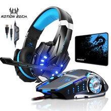 Auriculares estéreo G9000 para videojuegos, auriculares de graves profundos con luz LED y micrófono, Mouse para videojuegos y alfombrilla para ratón
