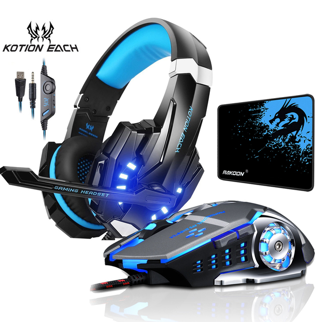 G9000 Computer Stereo Gaming Headphones Deep Bass Game Earphone Headset with Mic LED Light+Gaming Mouse+Gaming Mouse Pad