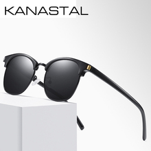 Fashion Semi Rimless Polarized Sunglasses Men Women Retro Br