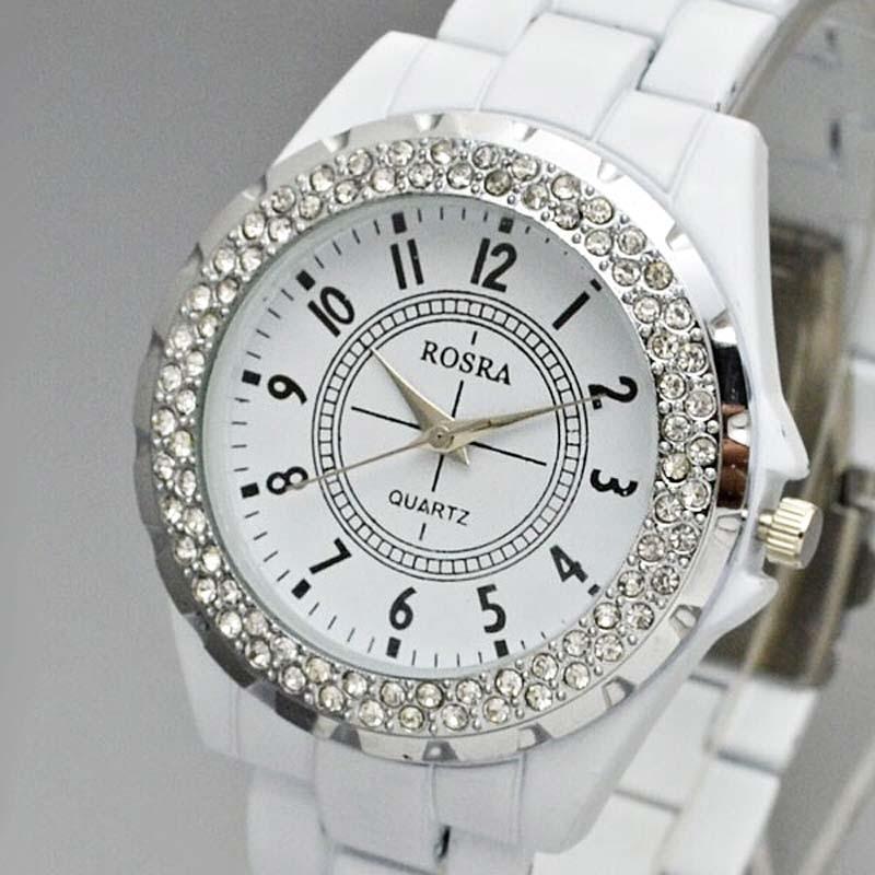 Women Casual Wristwatch Rosra Fashion Women Watches White Stainless Steel Crystal Quartz Watches Diamond Round Women Watch Shock