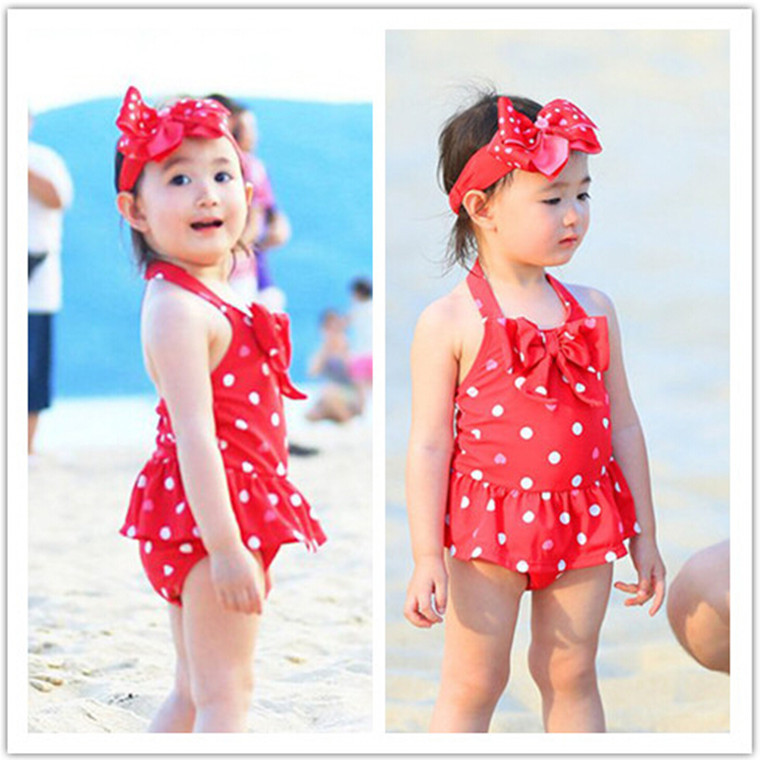 Cute KID'S Swimwear GIRL'S One-piece Polka Dot Ai Xin Bao Bao Hot Springs Child Princess Swimwear Baby Swimsuit Send Hair Band