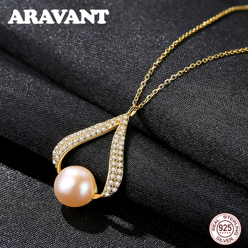 Genuine 925 Silver Jewelry Set Water Drop Natural Freshwater Pearl Drop Earrings Pendant Necklace Gold Chains For Women Gift