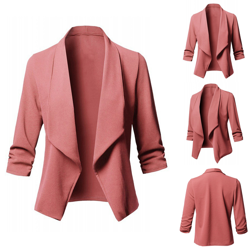 Spring Autumn  Women Solid Color Slim Tops Fashion Simple Office Lady Thin Lapel Small Suit Long-Sleeved Small Blazers